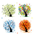 Four seasons tree - spring summer autumn winter vector image