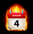 fourth january in calendar burning icon on black vector image vector image