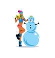 Girl and Snowman Cartoon vector image vector image