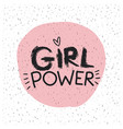 girl power emblem text in pink circle on white vector image