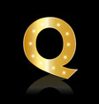 golden letter q shiny symbol vector image