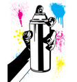 hand using an aerosol can with paint splatter set vector image vector image
