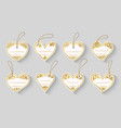 heart shape love white gold label craft sale tag vector image vector image