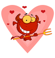 Hearts Over A Devil Guy Holding A Pitchfork vector image