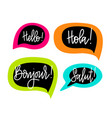 hello speech bubbles lettering english vector image vector image