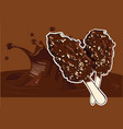 ice cream covered with chocolate and almonds stick vector image vector image