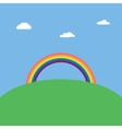 Landscape background with rainbow over green hill vector image vector image