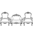 living room furniture set baroque armchair with vector image vector image