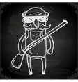 Man with a Rifle Drawing on Chalk Board vector image vector image