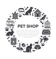 pet shop circle banner with flat silhouette vector image vector image