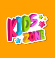 playroom logo kids zone 3d lettering banner for vector image vector image