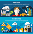 pollution problem banners set vector image vector image