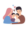 portrait of loving family happy father mother vector image