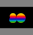 rainbow color colored colorful number 80 logo vector image vector image