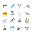realistic plumbing objects and tools icons vector image vector image