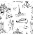 seamless pattern landmarks and cafes france vector image