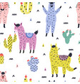 seamless pattern with cute llamas and succulents vector image