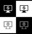 set computer monitor with dollar icons isolated on vector image