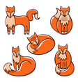 set cute red doodle foxes in various poses vector image