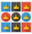 Set icons with gold crown on round and square vector image