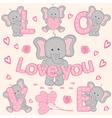 set of cute valentine elephant part 1 vector image