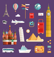 Set of Tourism Concept and Icons Vacation Flat vector image vector image