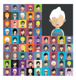 set people icons in flat style with faces 12 a vector image vector image
