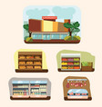 shop building cartoon set with mini store symbols vector image vector image