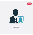 two color custody icon from law and justice vector image vector image