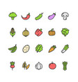 vegetables food color thin line icon set vector image