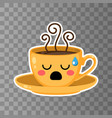 yellow cup kawaii coffee on a transporent vector image vector image