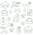 Doodle of business finance elements vector image