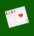 playing cards casino poker with aces combination vector image