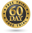 60 day free trial golden label vector image vector image