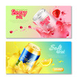 aluminum cans drinks horizontal banner set vector image