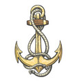 anchor in ropes colorful tattoo vector image