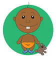 animation pretty boy with a bear toy vector image