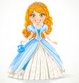 Beautiful red-haired princess in a blue ball gown vector | Price: 3 Credits (USD $3)