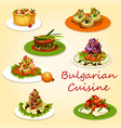 bulgarian cuisine meat and veggies salads snacks vector image