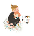 cartoon father hugging his daughter in flowers vector image