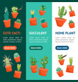 cartoon funny cactus characters banner vecrtical vector image vector image