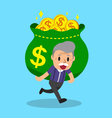 Cartoon senior man carrying big money bag vector image