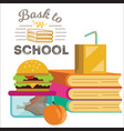 children dinner poster piles of books lunch box vector image vector image