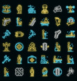chiropractor icons set neon vector image vector image