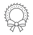 christmas wreath thin line icon xmas and winter vector image