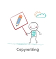 Copywriter is holding a plate with a pencil vector image vector image