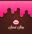 cupcake with berries splash sweet shop logo vector image