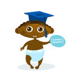 cute african american baby boy weating graduation vector image