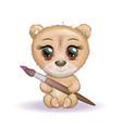 cute cartoon bear with big eyes and a brush vector image vector image