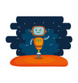 cute robot electronic with universe background vector image